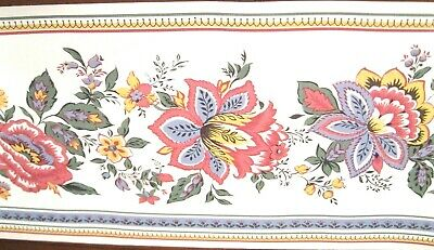 Wallpaper Border Kitchen Floral Pink Yellow Green Blue Trim White Vinyl Eh10037
