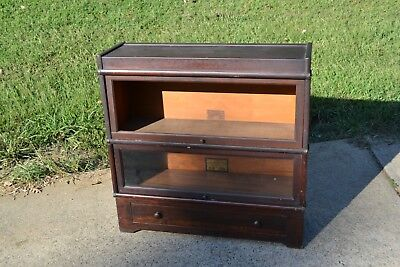 Antique Globe Wernicke Lawyers Bookcase 2 Shelf / Drawer - Refinish / Restore