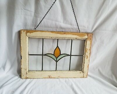 ANTIQUE victorian LEADED STAINED GLASS WINDOW WOOD FRAME  OLD HOUSE