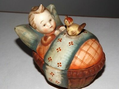 Vintage Rare Occupied Japan Baby In Trinket Box Bed With Bird Porcelain Fw Mark