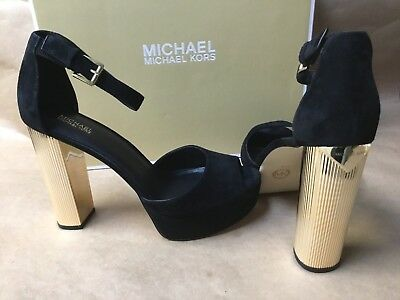 ae954f08c188 NEW Michael Kors Paloma Suede Platform Sandals High Heels Black Gold Mercer