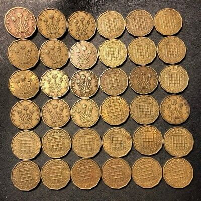 Vintage Great Britain Coin Lot! 1937-1967 - 3 PENCE - 36 Great Coins - Lot #925
