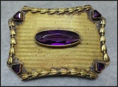Large Antique Victorian / Czech Vintage Brooch Pin Set With Amethyst Glass