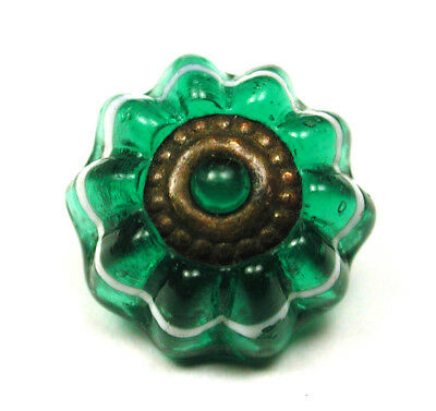 """Antique Charmstring Glass Button Green Candy Mold w Brass OME  - 7/16"""""""