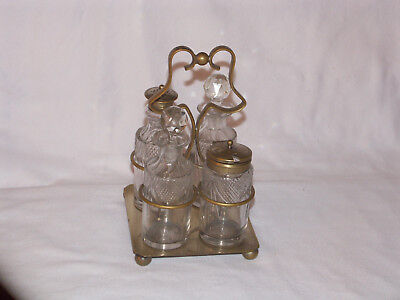 Vintage Epns Silverplate Footed Cruet Stand 4 Glass Bottles Condiment Caster