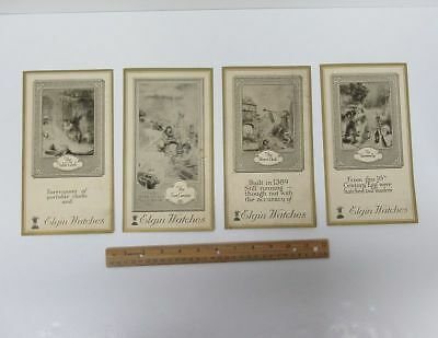 Lot (4) Large (5x9) Vintage Advertising Trade Cards Elgin Watches IL bv9491
