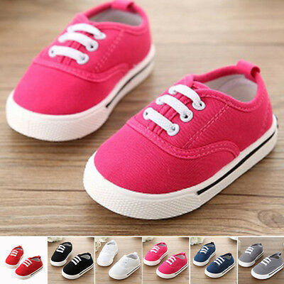 Cute Canvas Crib Baby Infant Shoes Soft Kids Sole Lace Newborn Sneaker Toddler