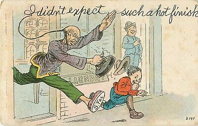 """1907 Chinese Stereotype """"I Didn't Expect Such A Hot Finish"""" Postcard"""