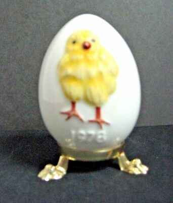 1978 GOEBEL egg GOLD stand yellow chick * NUMBERED