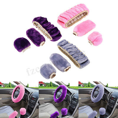 3Pcs Steering Wheel + Hand Brake + Stop Lever Cover Wool Plush Car Winter Warmer
