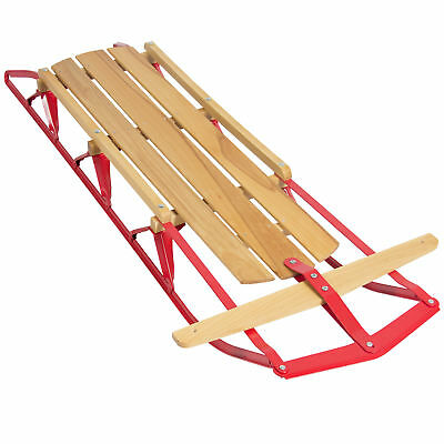 BCP 53in Wooden Snow Sled w/ Steering Bar