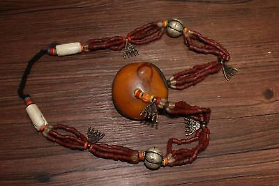 Chinese Antique Tibetan hand weaving coloured glaze Beeswax necklace