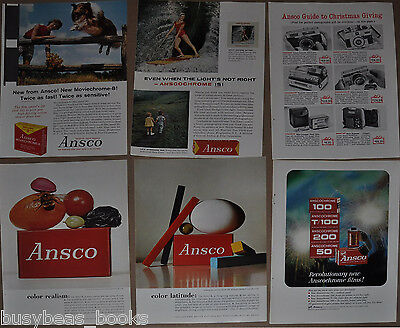 1960-63 ANSCO advertisements x6, for Ansco Cameras, Anscochrome film