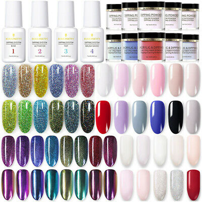 BORN PRETTY Dipping Glitter Powder System Liquid 4 Steps Basic Nail No UV Lamp