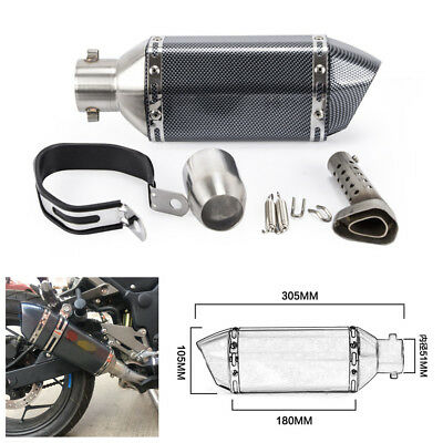 Carbon Fiber Motorcycle ATV Exhaust Muffler Tip Pipe Kit For CB600 CBR300 CBR250