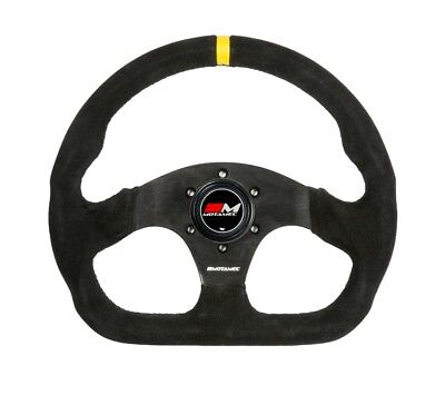 Motamec Formula Race Steering Wheel D Shape 320mm Black Suede Black Spoke
