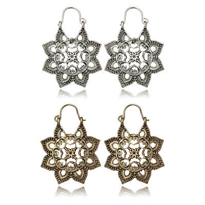 Bohemia Retro Metal Carved Flower Earrings For Women Ethnic Indian Charm Jewelry