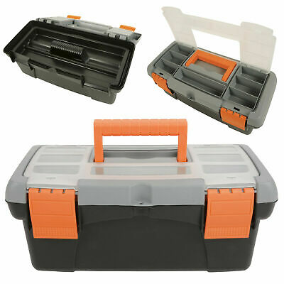 Toolbox with Removable Tray and Storage Compartment Eyehole Lid Small & Large