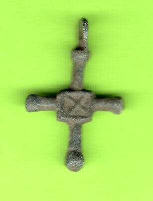 Russia Kiev type Bronze Cross Pendant Viking time 10-12th ca 1100 AD RARE 611