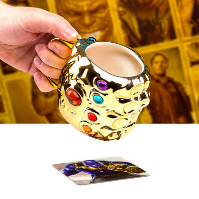 Marvel Avengers Infinity War Gauntlet Thanos Glove Shaped Mug Gold Gems