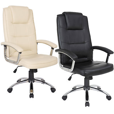 Premium Quality Office Chair Black or Cream Leather Manager Gas Lift Chrome Base