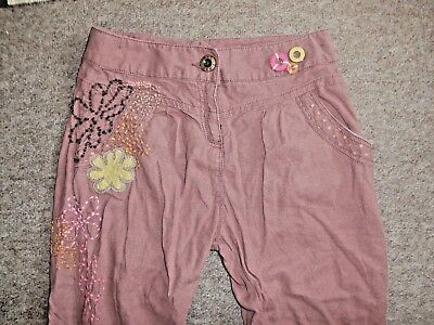 Gorgeous NEXT Dusky Pink LINEN MIX Hippy/Boho HAREM TROUSERS~Age 11~FREE UK POST