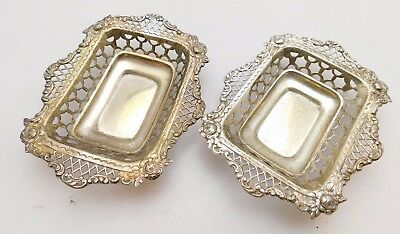 Pair of 1896 Antique Pierced Sterling Silver Bon Bon Dishes William Comyns