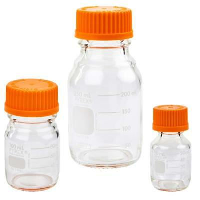 Corning PYREX #1395-SET, Round Media Storage Bottles, w/ GL45 Screw Cap, 3 sizes