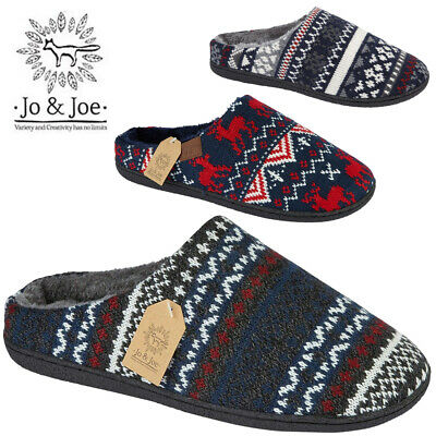 New Mens Clog Mules Slip On Slippers Fleece Fur Fairisle Knitted Warm Cozy Shoes
