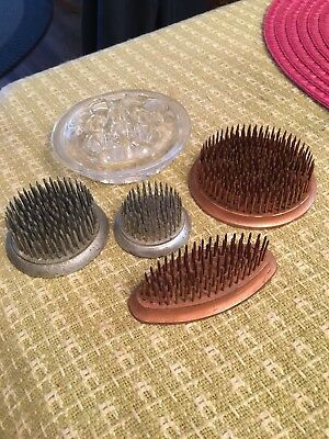 Vintage FLORIST FLOWER FROGS Metal Spiked Lot of 4 Different Sizes Heavy 1 Glass