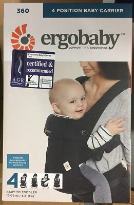 GENUINE Ergobaby Baby Carrier Collection 360 (5.5-15 kg), Pure Black 4 Position