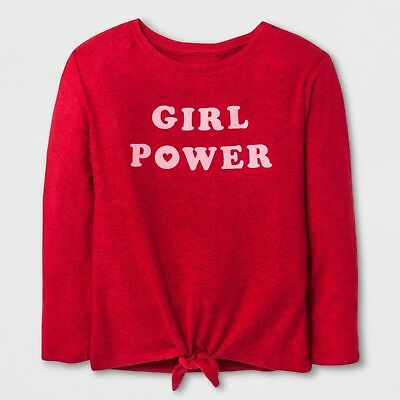 "Girls' Cozy Pullover ""Girl Power"" Cat & Jack Red XL 14/16 NWT"