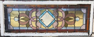 """Antique Victorian 1890's Stained Leaded Glass Transom Window 52"""" by 20"""""""