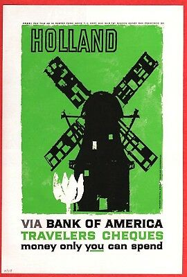 1959 Magazine Ad ~ Bank of America Travelers Cheques ~ HOLLAND Dutch Windmill
