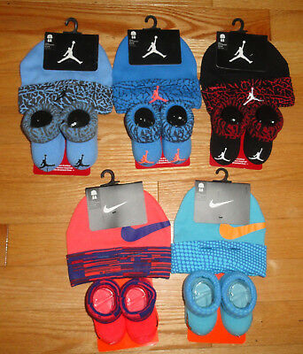 Nike Air Jordan Baby Booties Infant Cap Hat Gift Set Combed Cotton 0-6 Months