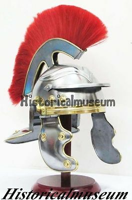 Roman Galea Imperial Legion Helmet - Red Horse Hair Brass Plume Forged BR52S