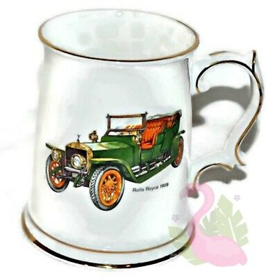 St George Porcelain Beer Stein Fine Bone China 1909 Rolls Royce Golden Trim Mug