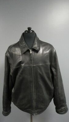 MARC NEW YORK Black Solid Leather Lined Zip Front Men's Jacket Size XL FF4138