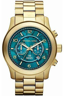 100 new michael kors hunger stop oversized gold tone unisex analog michael kors watch hunger stop mk8315 gold turquoise blue oversized dial gumiabroncs Gallery