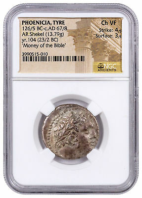 Phoenicia Tyre Silver Shekel Money of Bible Yr.104 (23/2 BC) NGC Ch. VF SKU46034