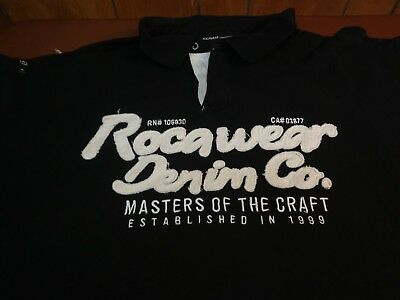 ROCAWEAR DENIM CO 99 MASTERS OF CRAFT POLO SHIRT Black White