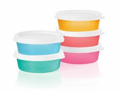 Tupperware New Half Snack Cups Set of 5 2 oz Mini Bowl Containers Multi Color