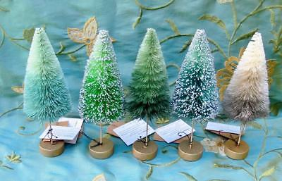 So Pretty! Set of 5 Christmas Bottle Brush Trees Green Gray Colors 7 inch New