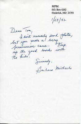Barbara Michaels Mertz Autograph Mystery & Suspence Novels Author Signed Page