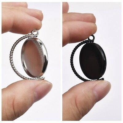 10Pcs Pendants 25mm Inner Size Rotation Double Side Cameo Cabochon Base Setting