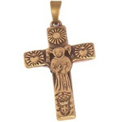 Saint Anthony of Padua Antique gold tone Cross with famous St. Anthony`s brief