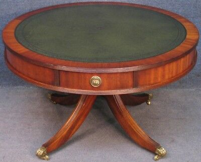 Reprodux Bevan Funnell Circular Mahogany Leather Top 4 Drawer Drum Coffee Table