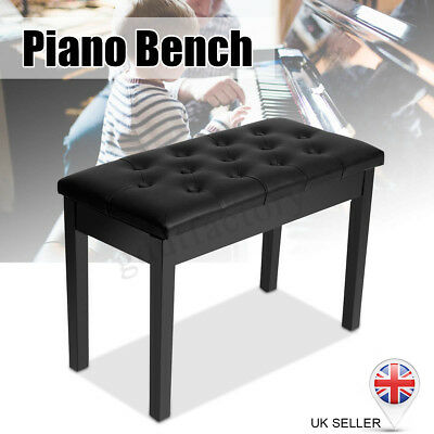 Wood PU Leather Piano Duet Bench Seat Stool With Storage Compartment Black UK