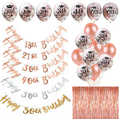 Rose Gold Happy Birthday Bunting Banner Balloons 18/21/30/40/50/60 Party Decor