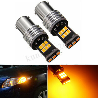 2x PY21W Amber 15SMD Bulbs CANBUS BAU15S LED For Car Turn Signal Corner